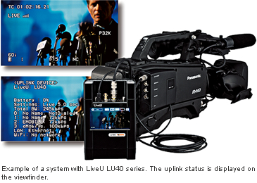 Example of a system with LiveU LU40 series. The uplink status is displayed on the viewfinder.