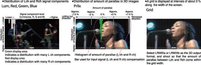 Distribution of Lch and Rch signal components, Distribution of amount of parallax in 3D images,A grid is displayed at intervals of about 3% along the width of the screen.