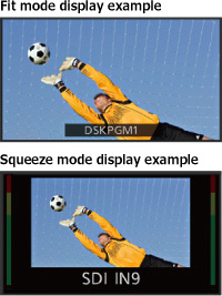 """""""Fit mode display example"""" and """"Squeeze mode display example"""""""