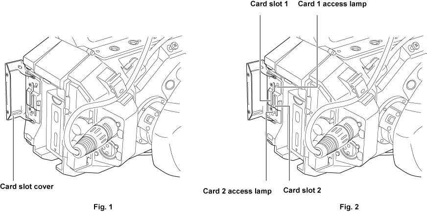 Inserting/removing of the SD card | Operating Instructions AU-EVA1